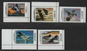 $US State Duck Stamps, Alabama Sc#16-20 M/NH/VF, complete set, Cv. $52