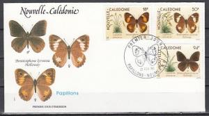 New Caledonia, Scott cat. 626-628. Butterflies issue on a First day cover.