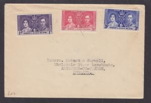 Gilbert & Ellice Sc 37-39 on cover, 1937 Coronation, cplt set