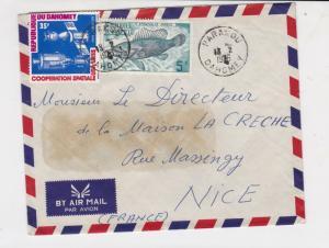 republique du dahomey 1976 fish + space airmail stamps cover ref 20216