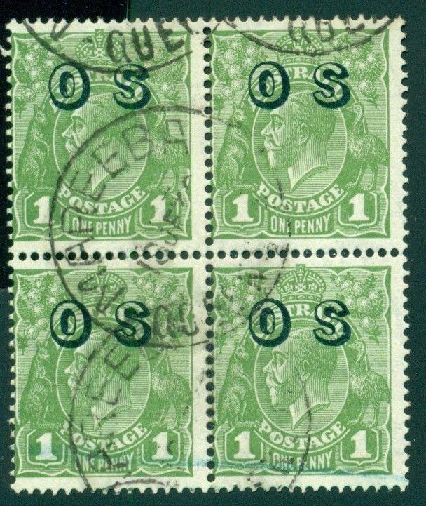 Australia Scott #O7 Used BLOCK 1p Green OVPT OS CDS CV$8+