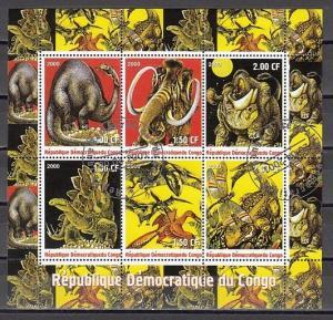 Congo, Dem. 2000 Cinderella issue. Dinosaues sheet of 6. Canceled, C.T.O.
