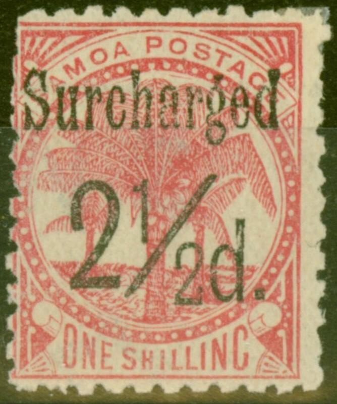 Samoa 1898 2 1/2d on 1s Dull Rose-Carmine SG86 Fine Lightly Mtd MInt