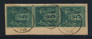 FRANCE 1887 3x N°75 5c SAGE OBL. cad type 18  GONFARON / VAR