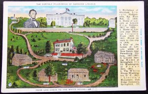USA The Earthly Pilgrimage of Abraham Lincoln Postcard Mint
