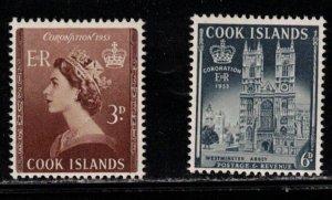 COOK ISLANDS Scott # 145-6 MH - QEII Coronation