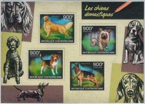 883  - CENTRAL AFRICAN R. - ERROR - MISSPERF stamp sheet 2014  Dogs