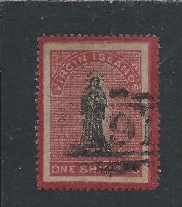BRITISH VIRGIN IS 1867 1s BLACK & ROSE-CARMINE ON TONED PAPER FU SG 19 CAT £85