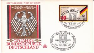 Germany FDC cover SC #1145 25th anniv. Federal Republic of Germany 1974 Mint.