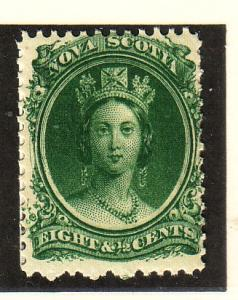 Nova Scotia Sc 11 1860 8 1/2c green Victoria staamp mint NH