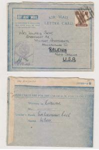 BC INDIA 1944 H. M. FORCE AIR MAIL LETTER CARD FROM HMS BRAGANZA Sc 176 CENSOR