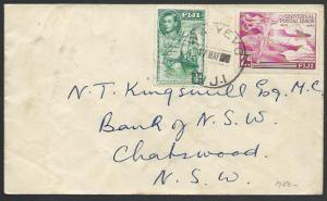 FIJI 1950 cover WAIYEVO cds - 50 in date showing as solid slugs............25511