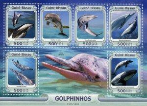 Guinea-Bissau MNH S/S Bottlenose Spinner Dolphins 2016 6 Stamps