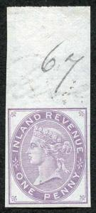 1d Postal Fiscal Marginal Imprimatur Plate 67 Ex Lord Crawford