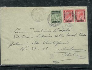 MOROCCO COVER (PP2912B) 1918 KGV 3 STAMPS TO ITALY  ANTIQUE OVER 100 YEARS OLD