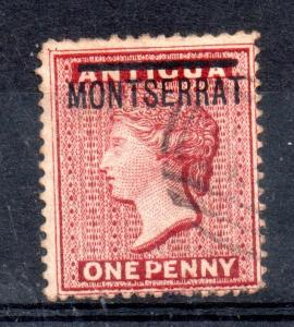 Montserrat 1876 1d red SG#1 good used WS11979