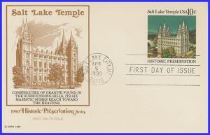 US FDC #UX83 Salt Lake Temple Salt Lake ~ Fleetwood (9398)