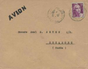 France 15F Marianne Gandon Engraved (2) 1946 Le Havre Airmail to Fayetteville...