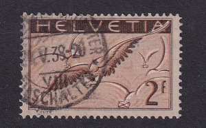 Switzerland  #C15a  used  1935   Air  grilled gum  2fr bird with letter