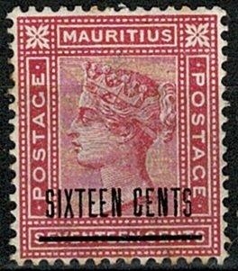 MAURITIUS QV 1883 16c optd 17c ROSE UNUSED SG115 Wmk.CROWN CA VGC