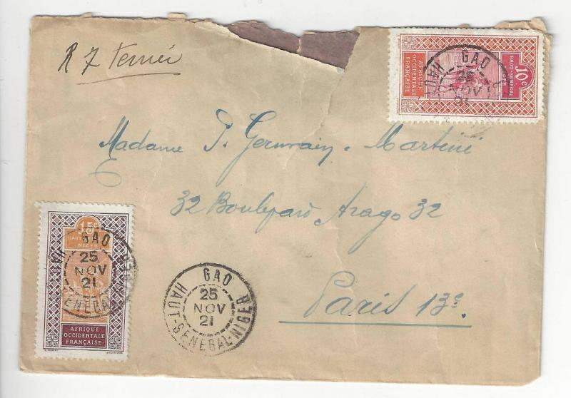 1921 French Occidential Africa To Paris Cover (AB11)