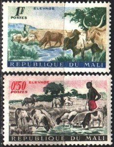 Mali. 1961. 30-31 from the series. Cows, Shepherd. MNH.