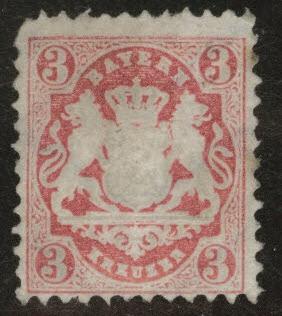 Bavaria German State Scott 34 MNG 1875 stamp wmk 94