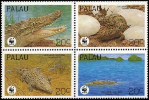 Palau WWF Estuarine Crocodile 4v in block 2*2 SG#673-676 MI#690-693 SC#323 a-d