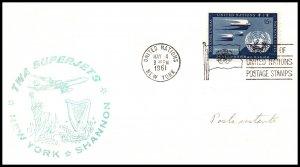 UN New York to Shannon,Ireland TWA 1961 First Jet Flight Cover