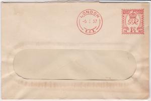 England 1937 British Standard Assurance Association Meter Mail Cover Ref 31828