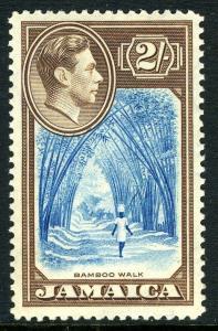 JAMAICA-1938  2/- Blue & Chocolate Sg 131 LIGHTLY MOUNTED MINT V13468