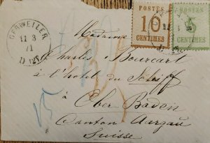 J) 1911 LUXEMBOURG, NUMERAL, MULTIPLE STAMPS, CIRCULATED COVER, FROM LOUXEMBOURG