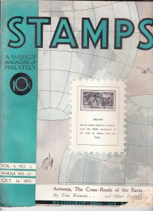 Stamps Weekly Magazine of Philately October 14, 1933 Stamp Collecting Magazine
