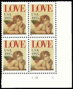 PCBstamps   US #2948 PB $1.28(4x(32c))LOVE, Cherub, 1995, MNH, (PB-4)
