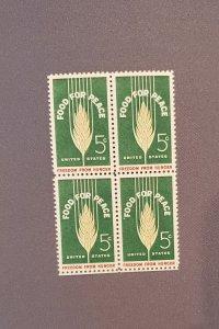 1231, Food for Peace, Block of 4, Mint OGNH, CV $1.50
