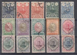 Iran Sc 434/497 used. 1907-11 issues, 15 different, sound group.
