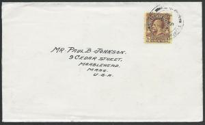 TURKS & CAICOS 1936 cover to USA, GV 3d, TURKS ISLAND cds.................53112