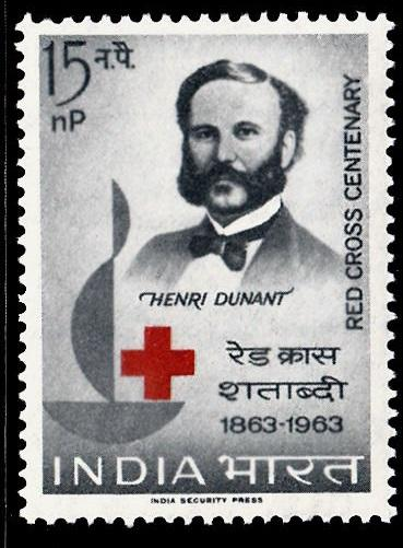 India 1963 Red Cross Centenary  SG467 15n.p Red & Grrey MM