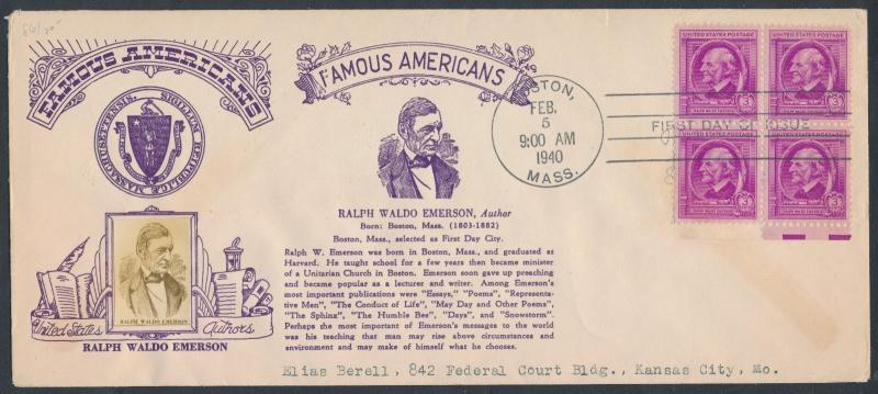 #861 FAMOUS AMERICANS ISSUE ON CROSBY FDC CACHET R.W.EMERSON AUTHOR BR2588