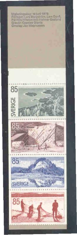 Sweden Sc 1170a 1976 Angermanland Views stamp booklet mint NH