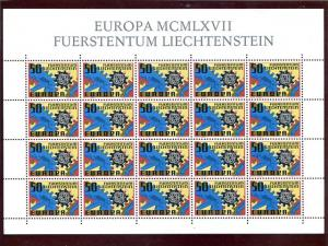 Liechtenstein  1967  Europa mini sheet  Mint VF NH