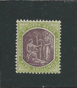 ST KITTS-NEVIS 1905-18 5s DULL PURPLE & SAGE-GREEN MM SG 21 CAT £45
