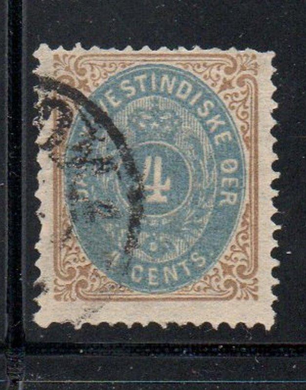 Danish West Indies Sc 18 1901 4c Coat of Arms stamp used