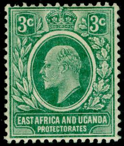 EAST AFRICA and UGANDA SG35a, 3c blue-green, LH MINT. Cat £26.