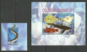 S1657 SIERRA LEONE COLORFUL MARINE LIFE FISHES SHARKS FAUNA KB+BL MNH