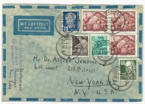 Germany DDR Scott #54, 155, 159, 172 x3, 133 on Air Mail Cover to USA 1953