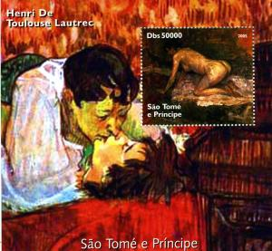 Sao Tome & Principe 2005 TOULOUSE LAUTREC Nudes Paintings s/s Perforated Mint NH