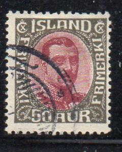 Iceland Sc 125 1920 50aur dark gray & claret Christian X stamp used