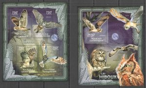 CA835 2012 CENTRAL AFRICA FAUNA BIRDS LES HIBOUX OWLS BL+KB MNH