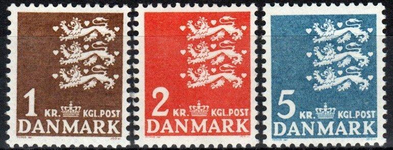 Denmark #297-9 MNH CV $9.40 (X6894)